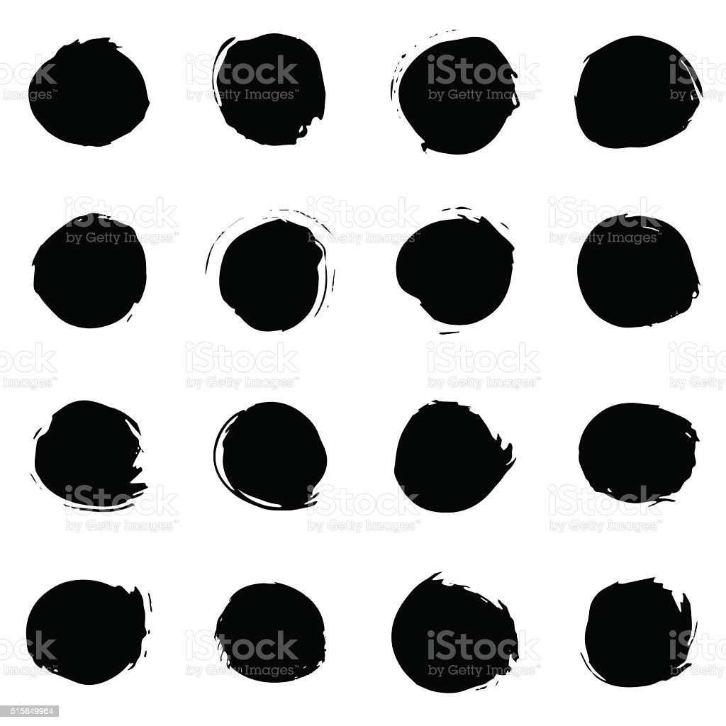 Black paint round strokes vector art illustration
