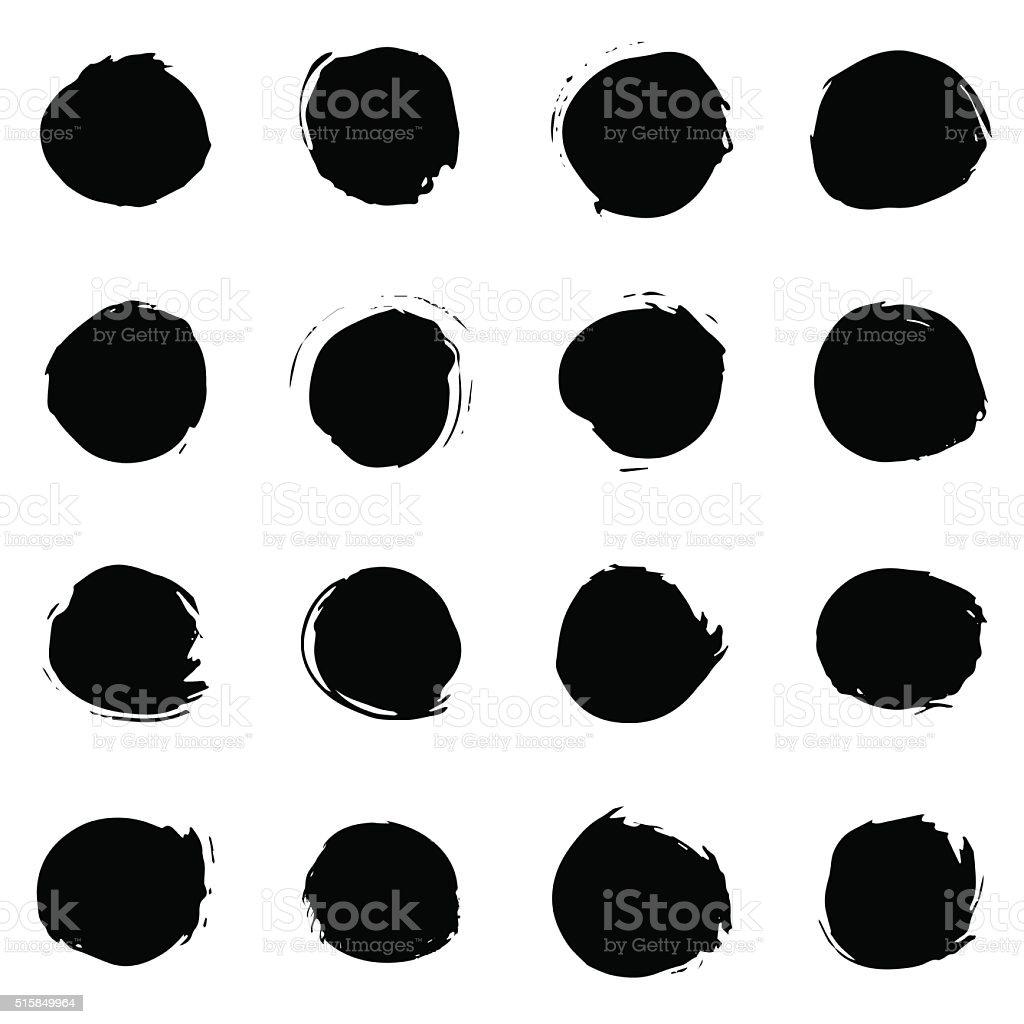 Black paint round strokes vector art illustration