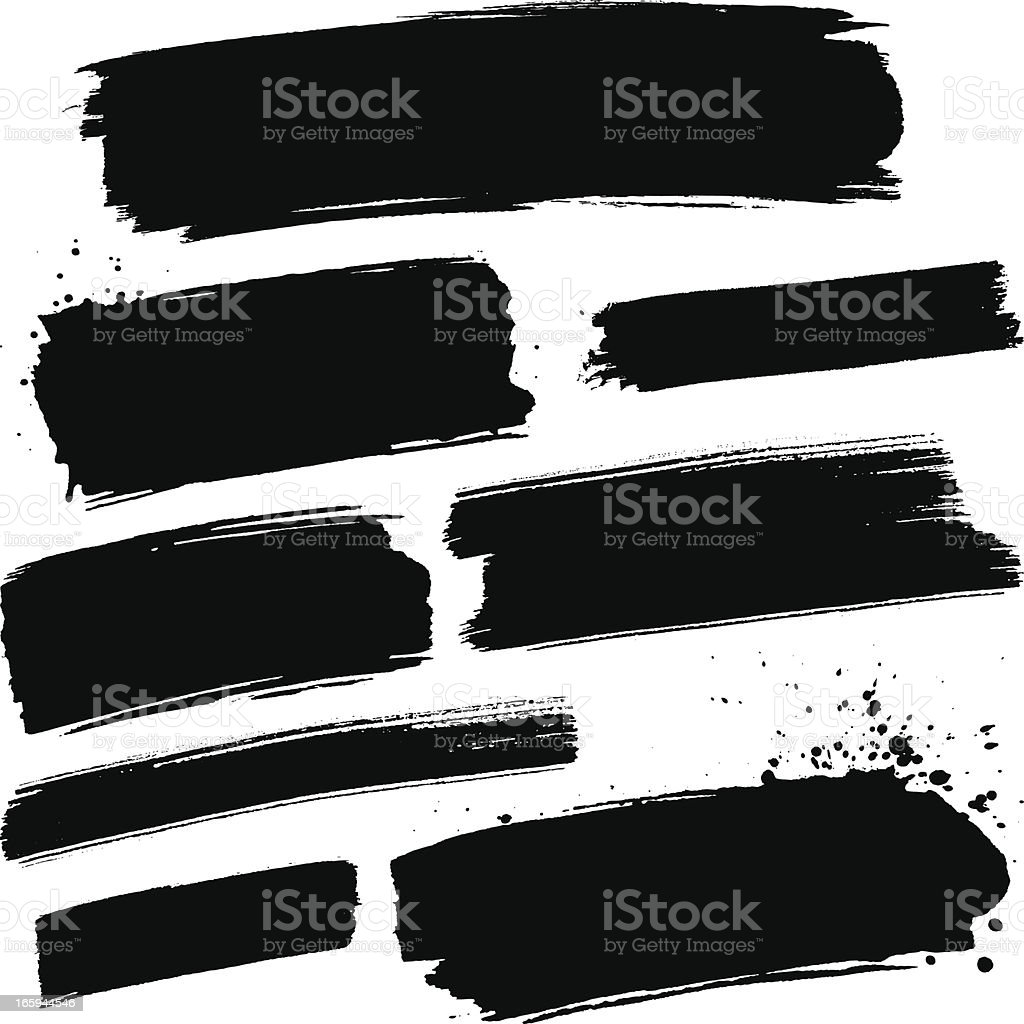 Black paint strokes vector art illustration