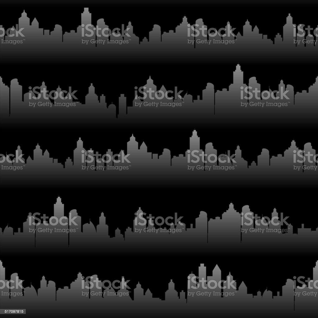 Black panoramic city skyline Background Set royalty free vector art vector art illustration