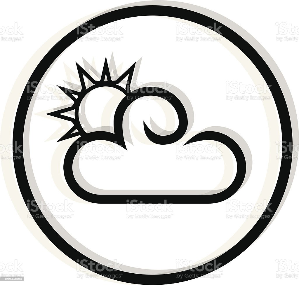 black partly cloudy icon vector art illustration