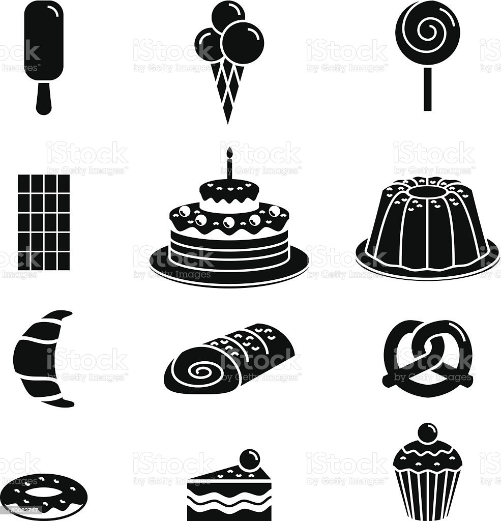 Black pastry outline icon vector art illustration