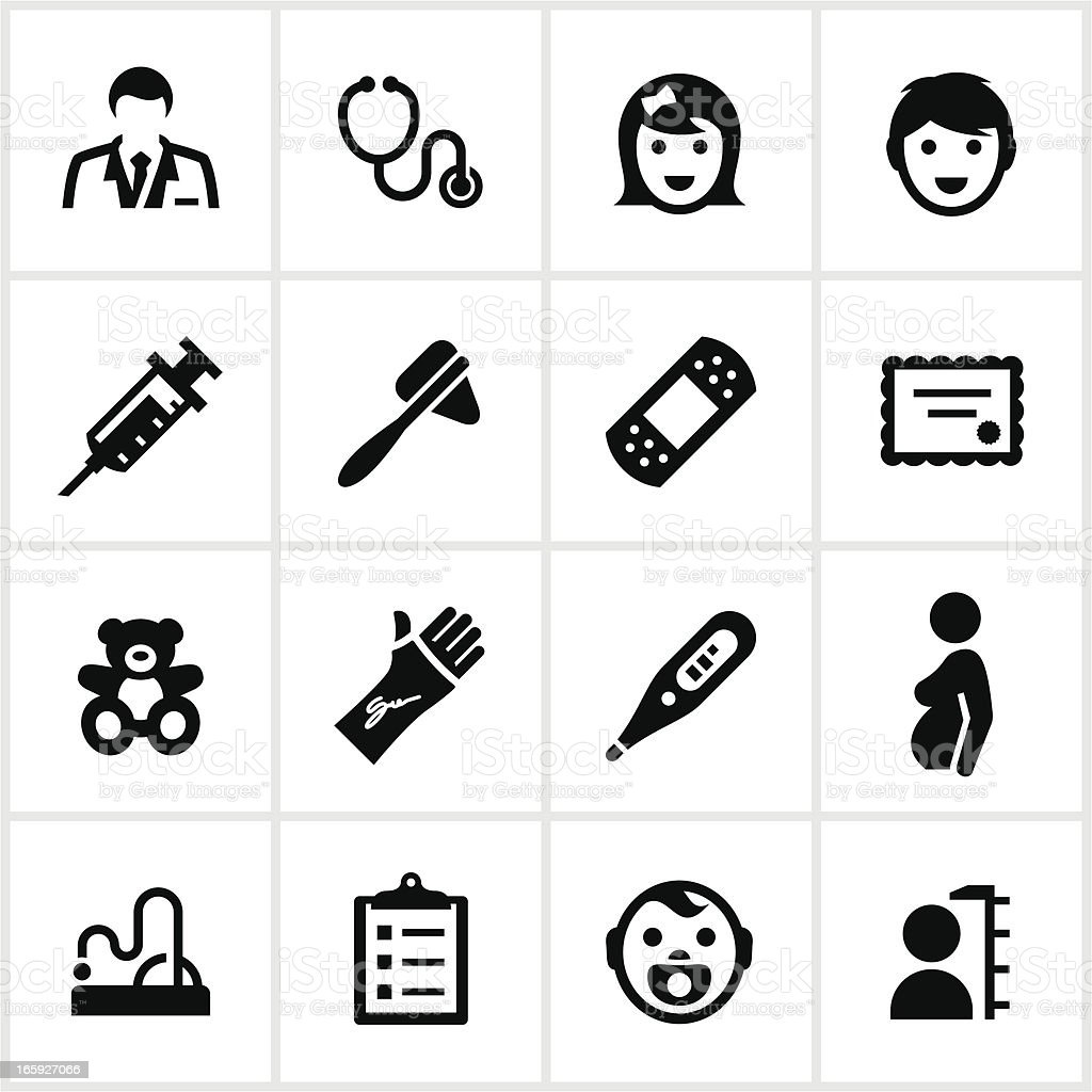 Black Pediatrician Icons vector art illustration