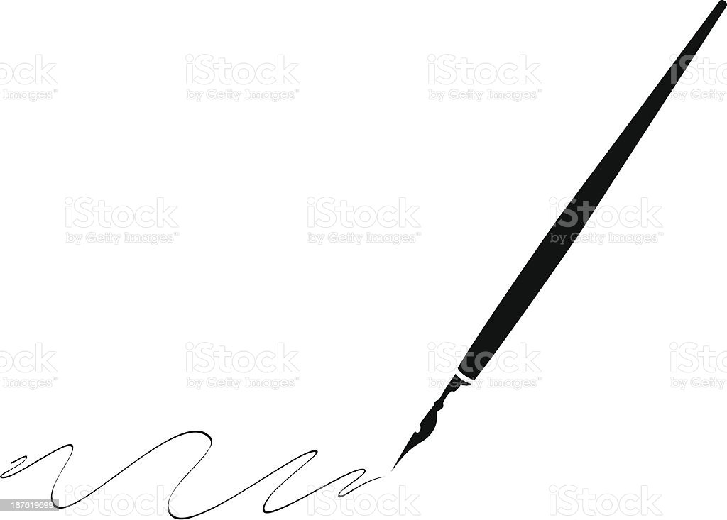 Black pen with black ink making swirls vector art illustration