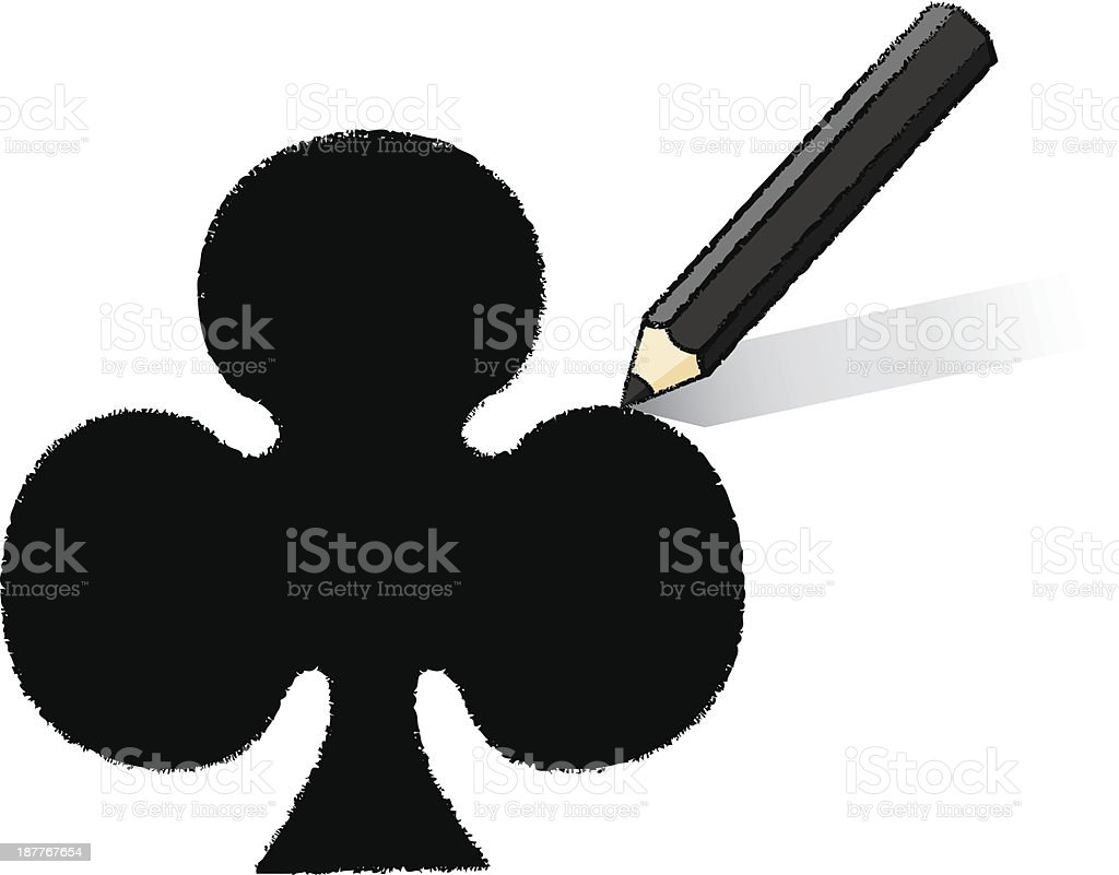 Black Pencil Drawing Ace of Clubs Playing Card Icon royalty-free stock vector art