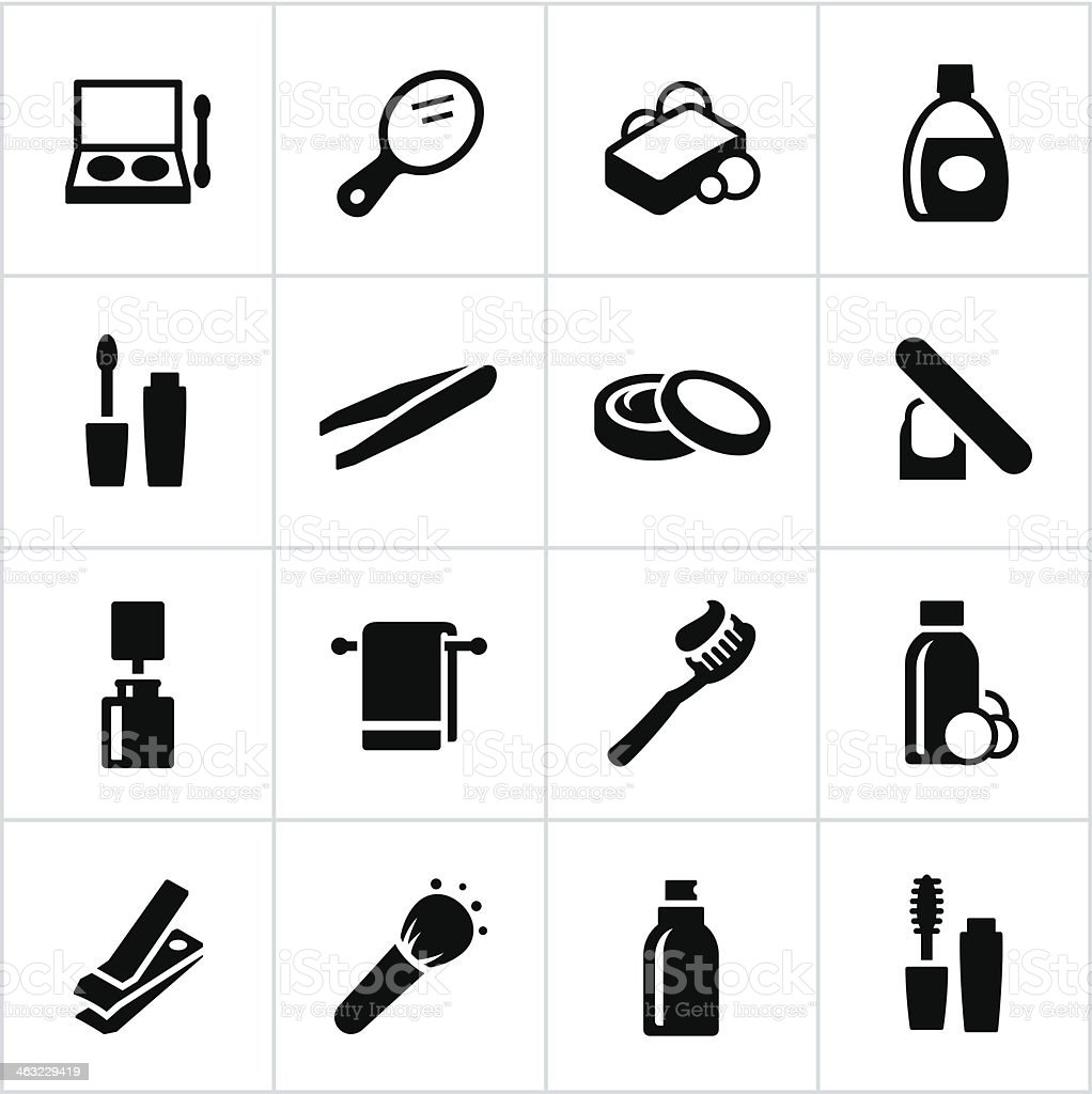 Black Personal Care Icons vector art illustration