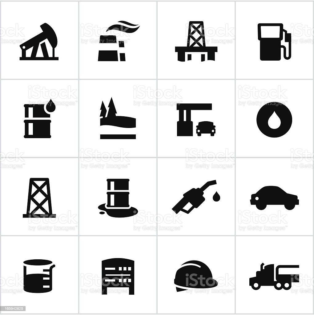 Black Petroleum Industry Icons vector art illustration