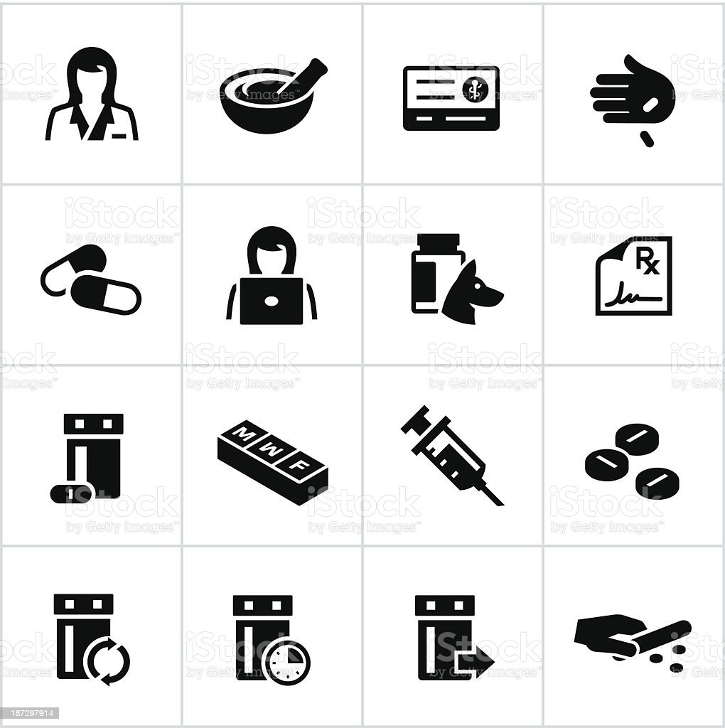 Black Pharmacy Icons vector art illustration