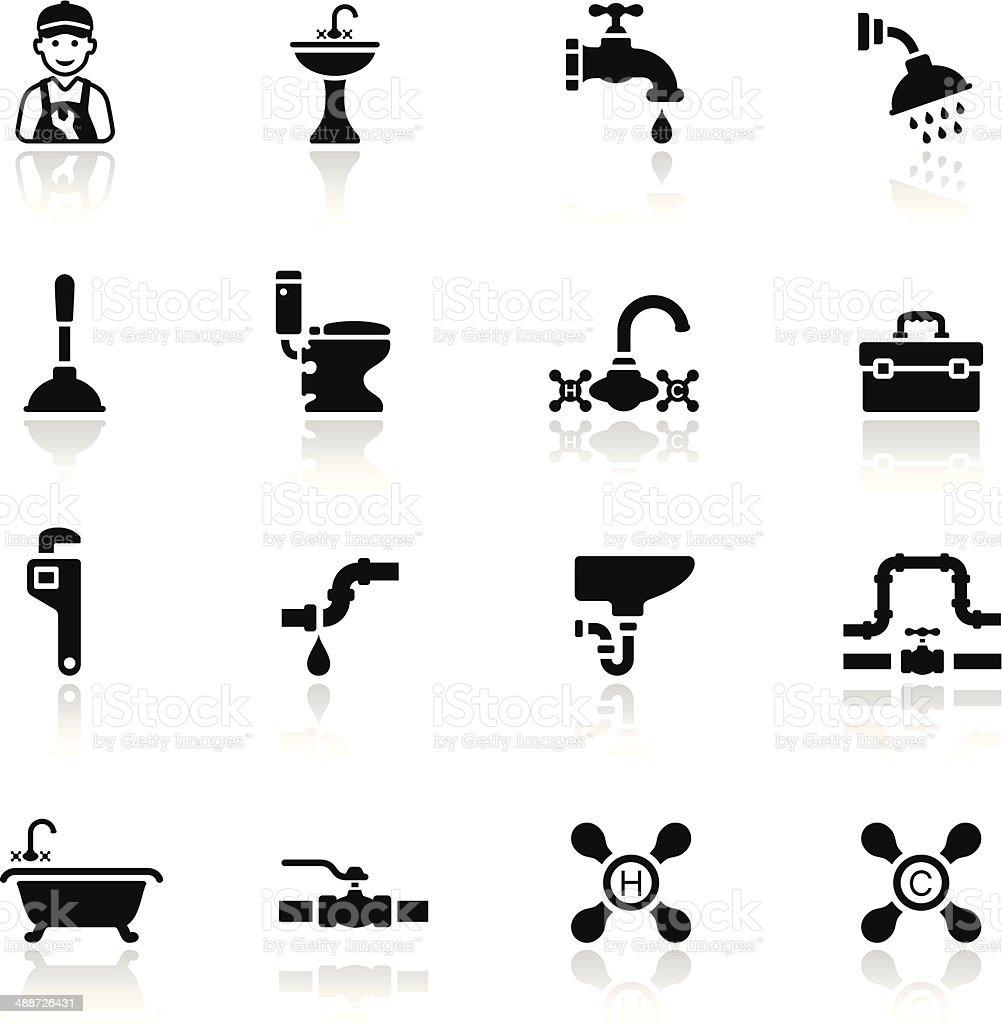 Black Plumbing Icon Set vector art illustration