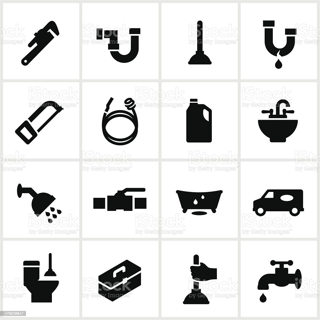 Black Plumbing Icons vector art illustration
