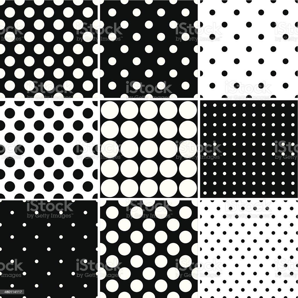 Black Polka Dot Seamless patterns vector art illustration