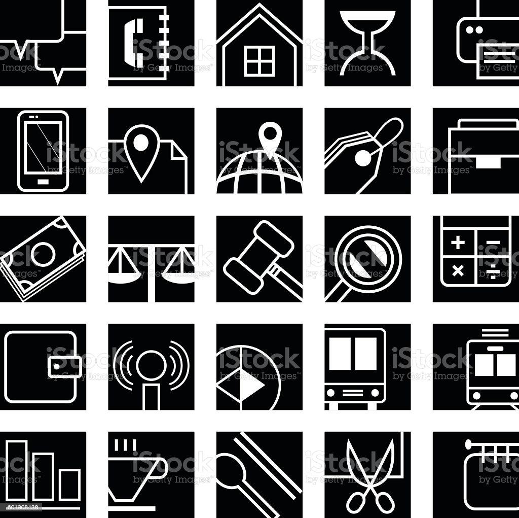 Black portion icons 002 vector art illustration