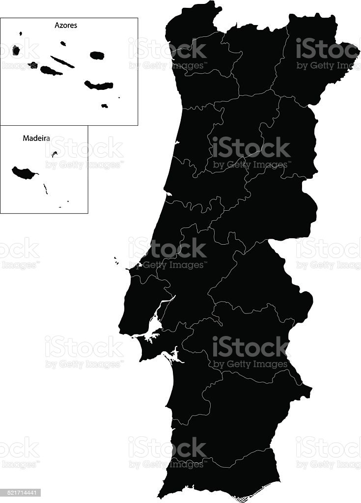 Black Portugal map vector art illustration