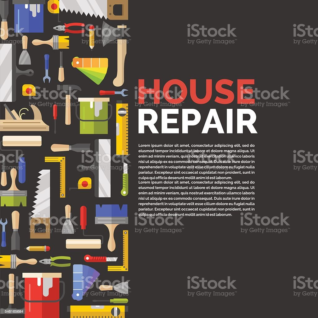 Black poster with tools for house repair. vector art illustration