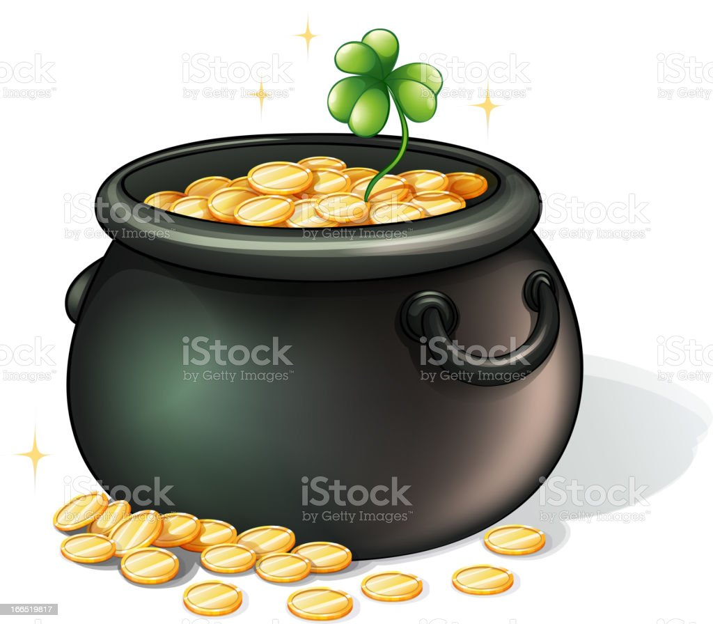 Black pot with coins royalty-free stock vector art