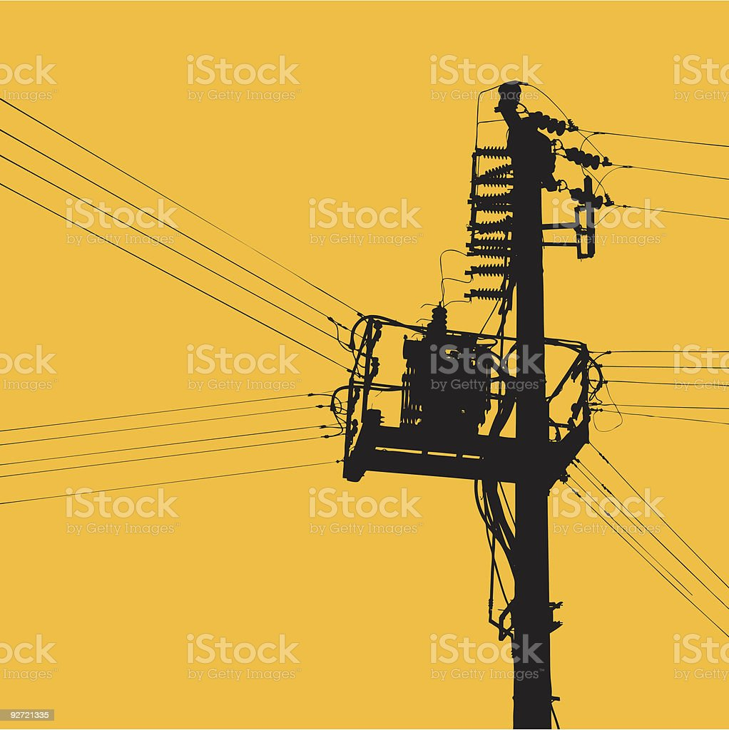 Black power lines going in 5 directions on yellow background vector art illustration