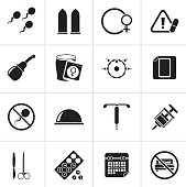Black Pregnancy and contraception Icons