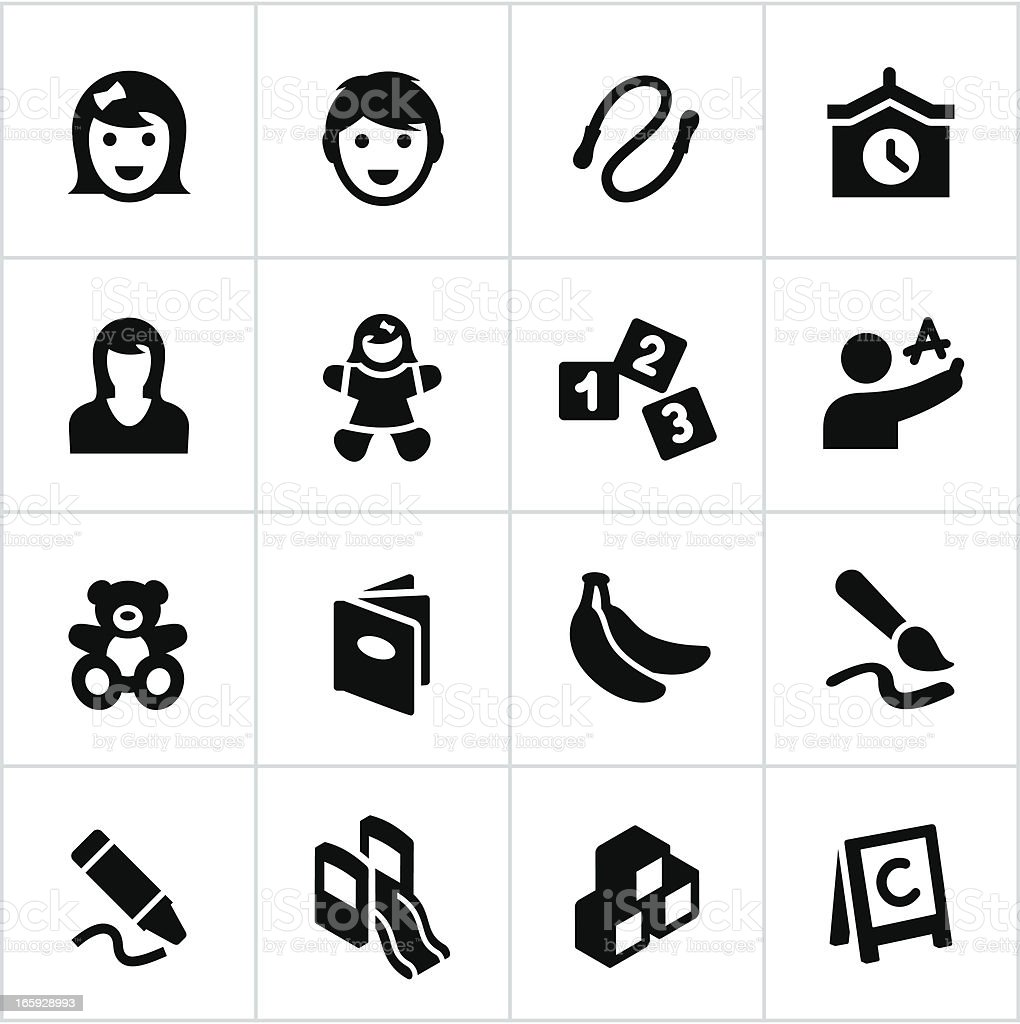 Black Preschool and Day Care Icons vector art illustration