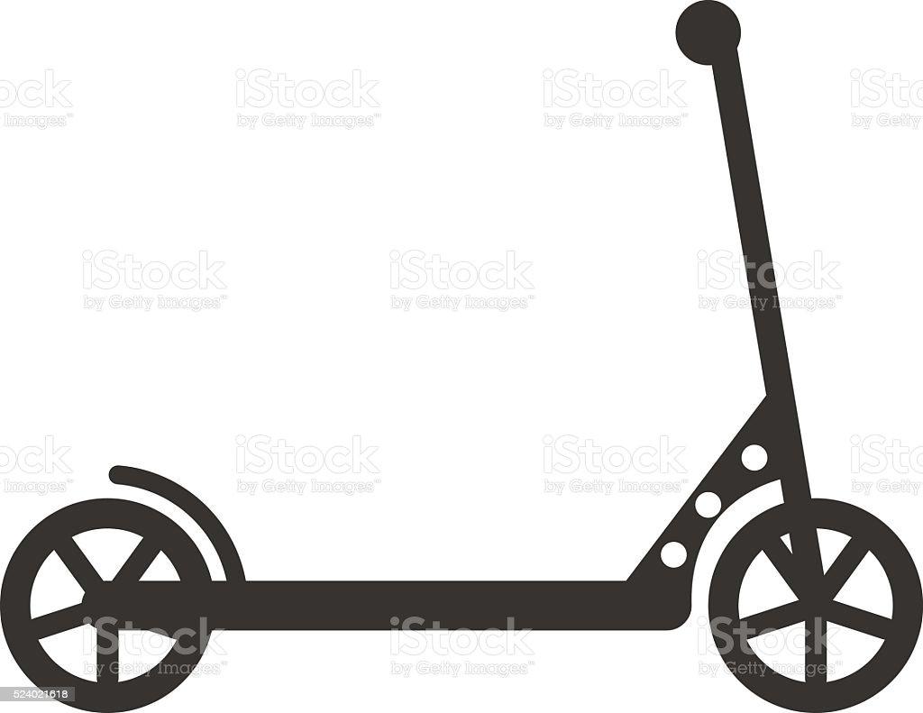 Black push kick scooter fun activity transportation vehicle sport ride vector art illustration