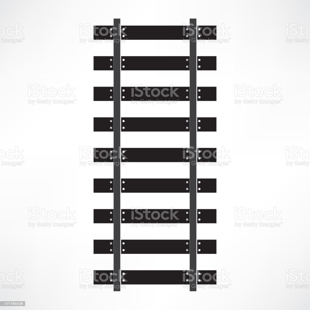 Black railroad tracks isolated on white vector art illustration