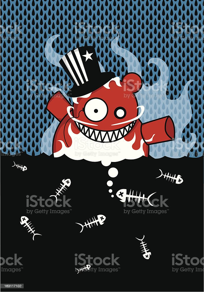Black Rain and the Oil Monster royalty-free stock vector art