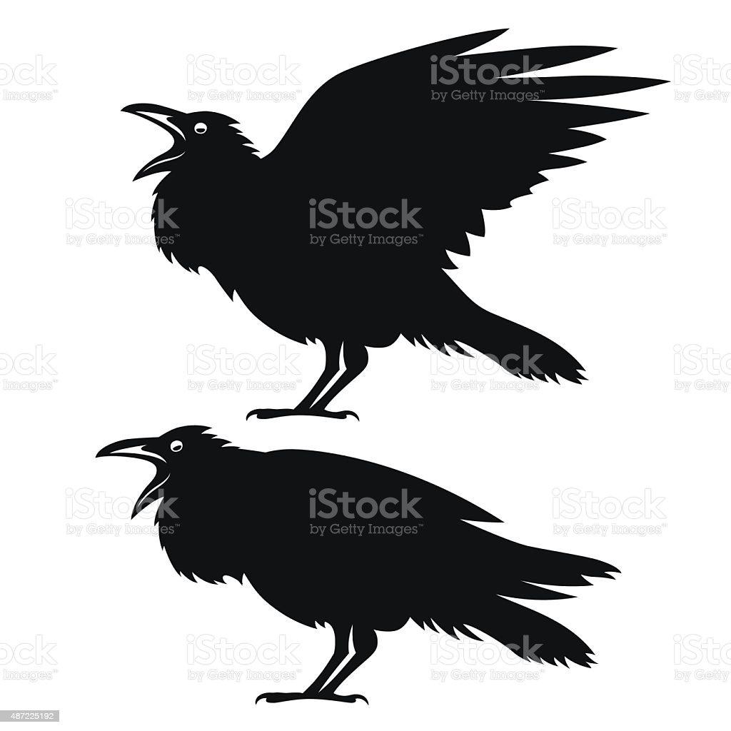 Black ravens set. vector art illustration