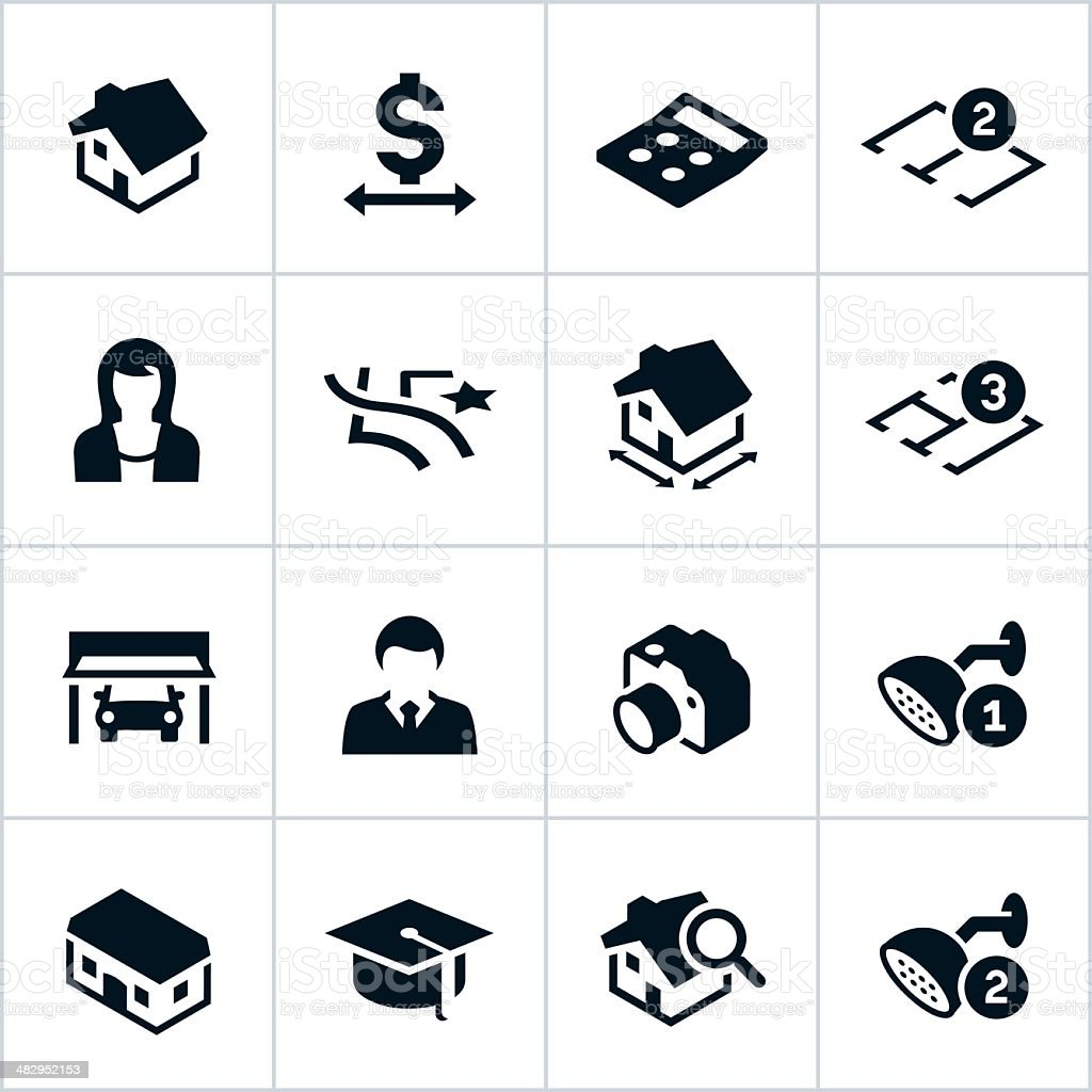 Black Real Estate Icons vector art illustration