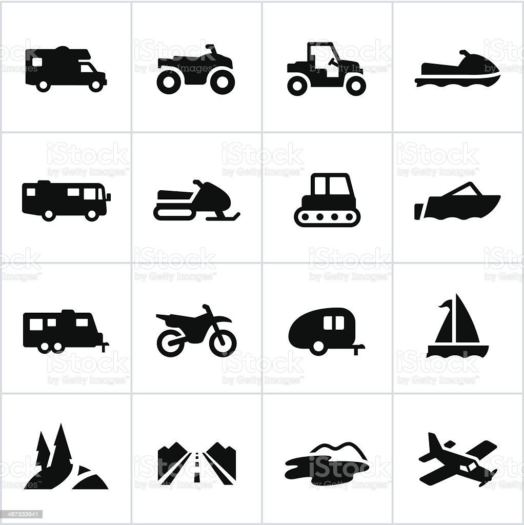 Black Recreational Vehicle Icons vector art illustration