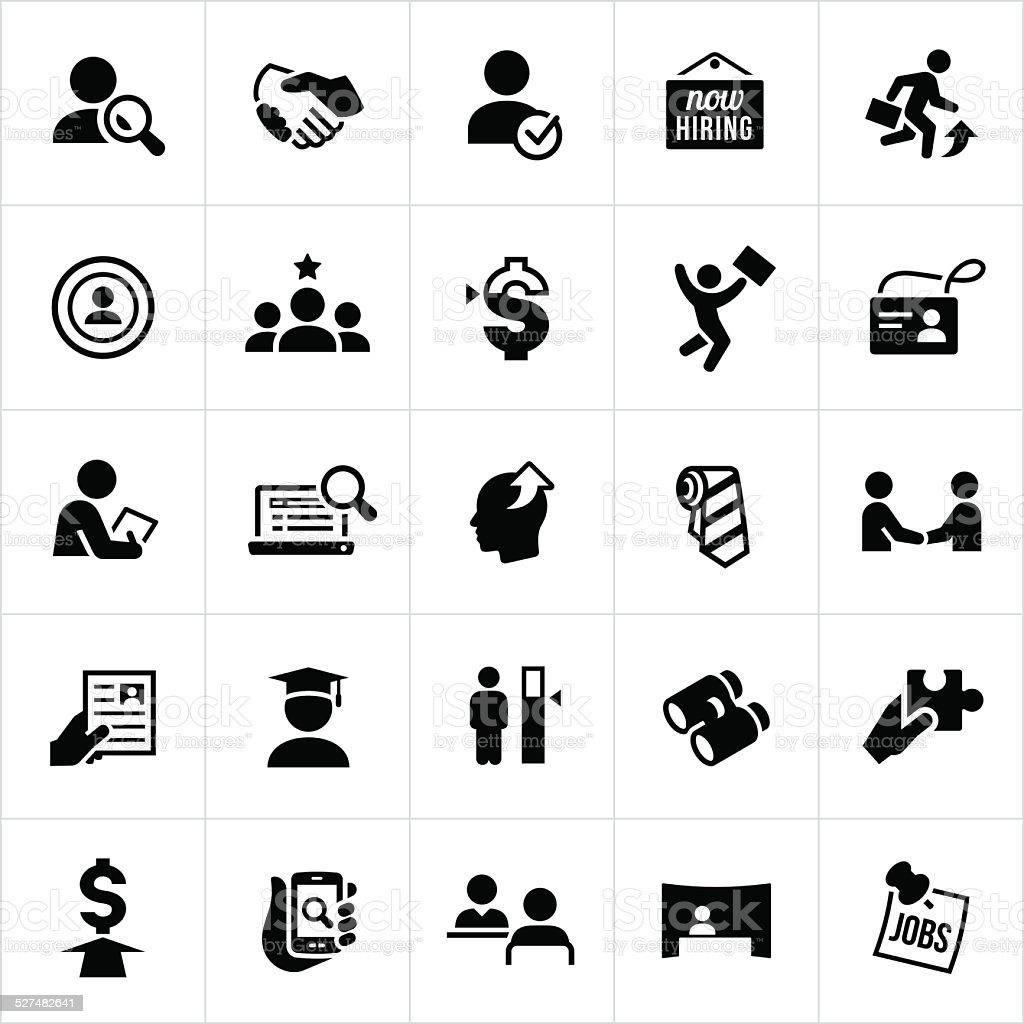Black Recruiting and Hiring Icons vector art illustration