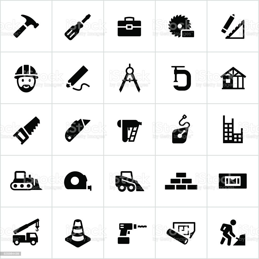 Black Residential And Commercial Construction Icons vector art illustration