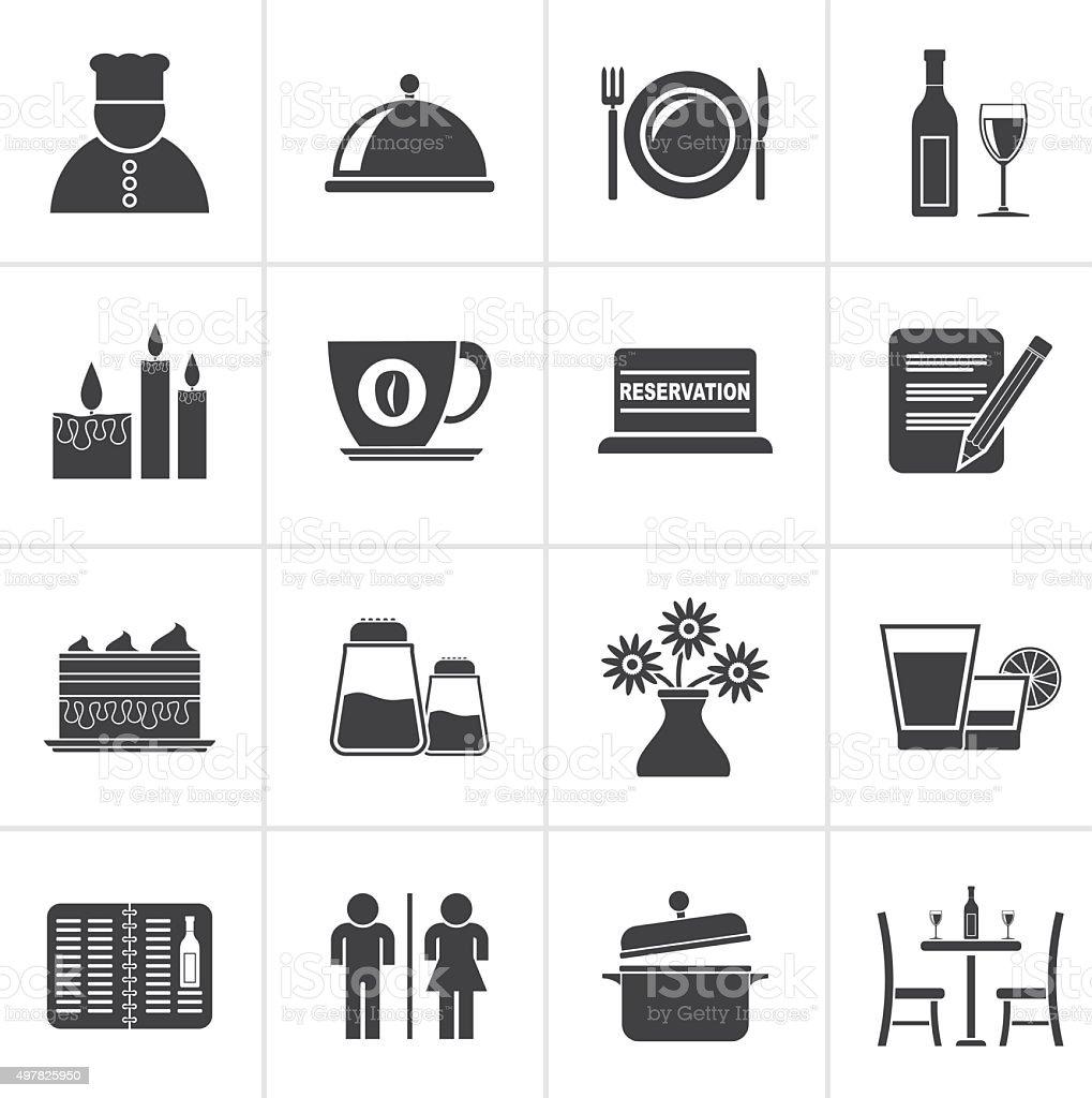 Black Restaurant, cafe and bar icons vector art illustration