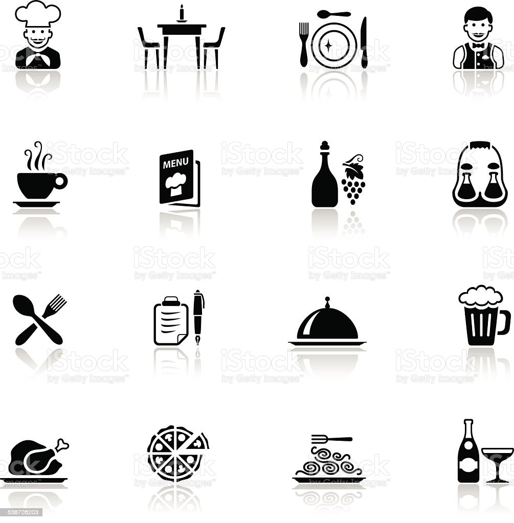 Black Restaurant Icon Set vector art illustration