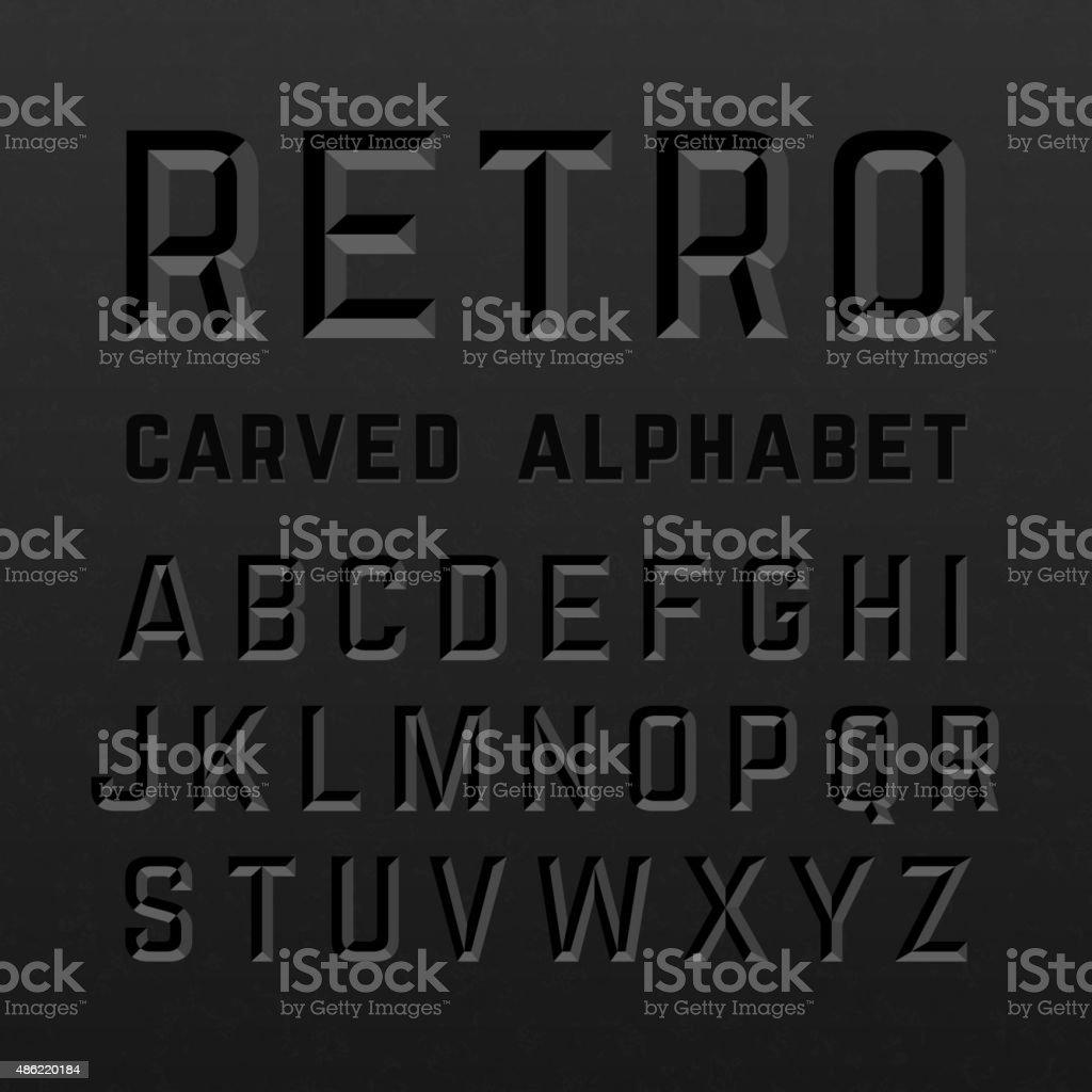 Black retro style carved alphabet vector art illustration