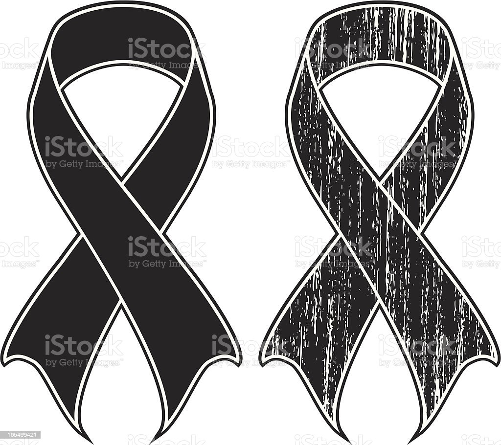 black ribbon distress vector art illustration