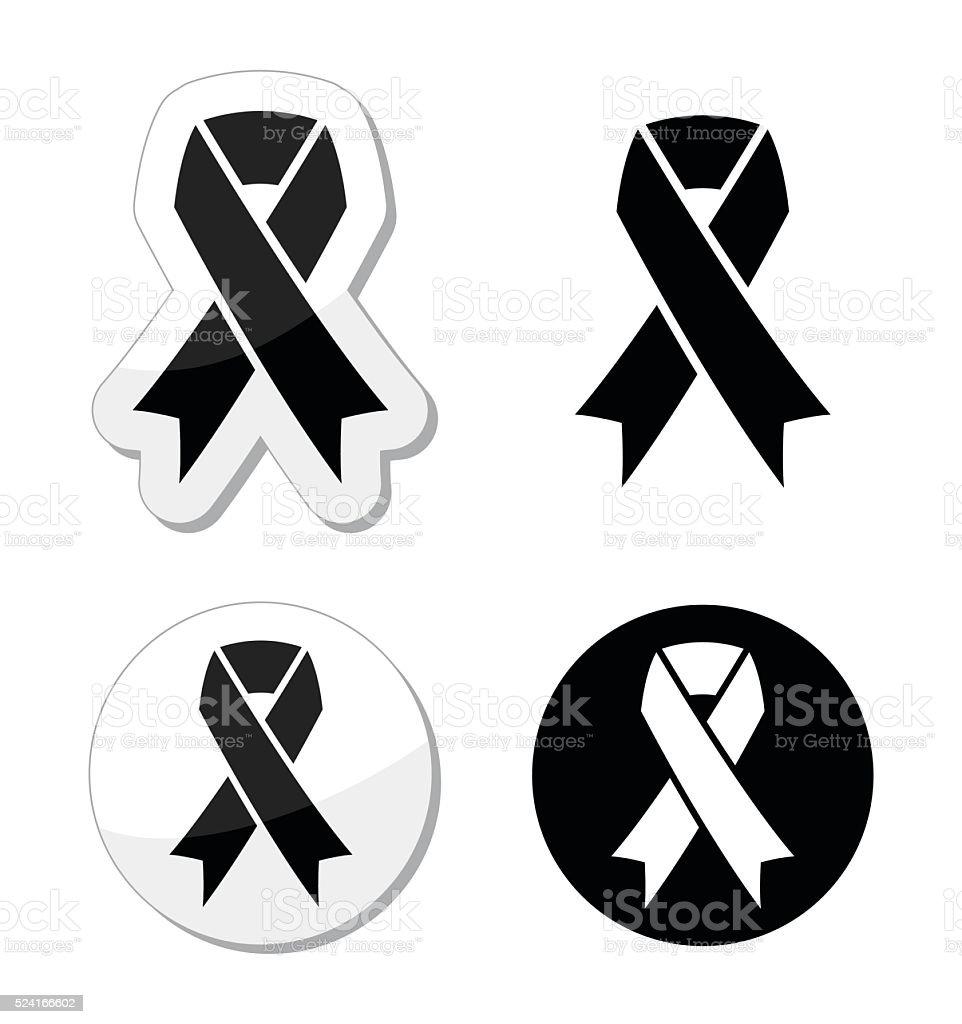 Black ribbon - mourning, death, melanoma symbol vector art illustration