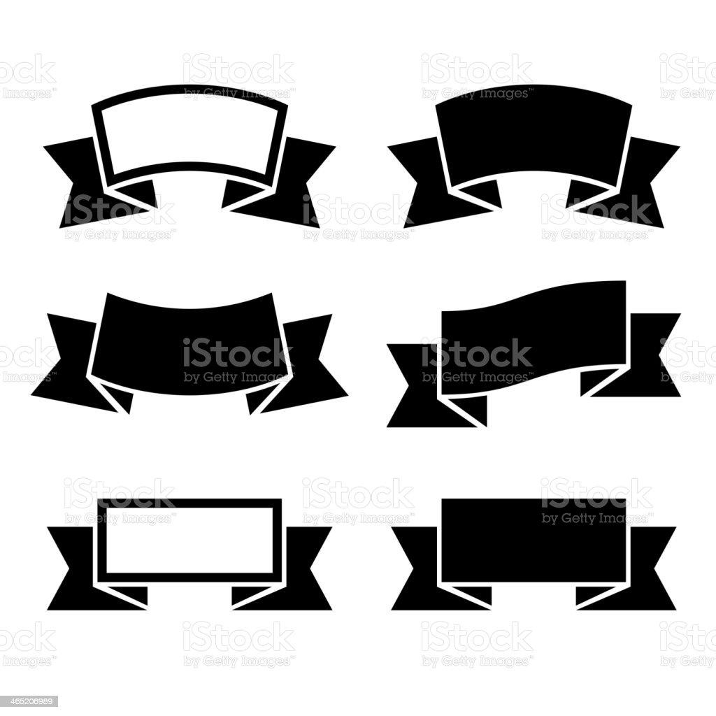 Black ribbons icons set royalty-free stock vector art