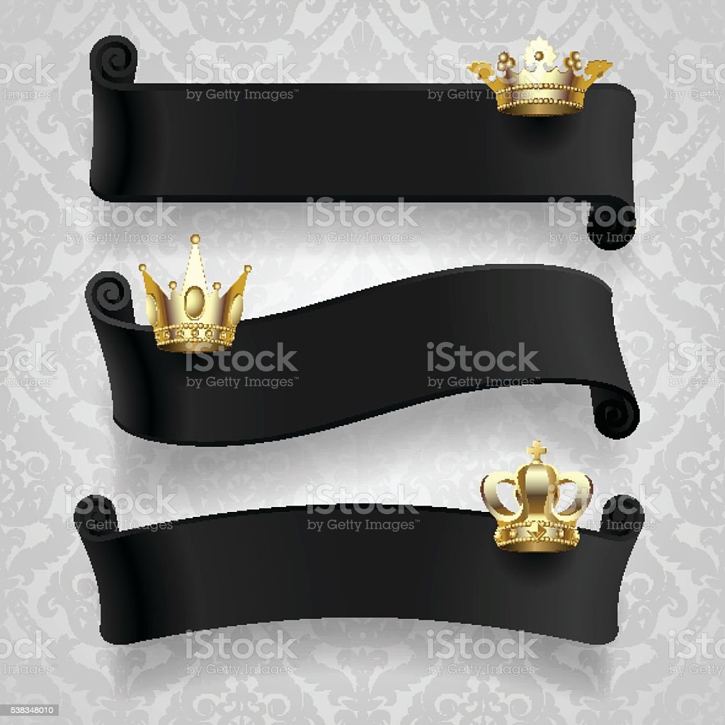 Black ribbons with gold crowns vector art illustration