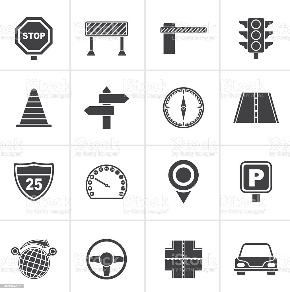 Black Road and Traffic Icons vector art illustration