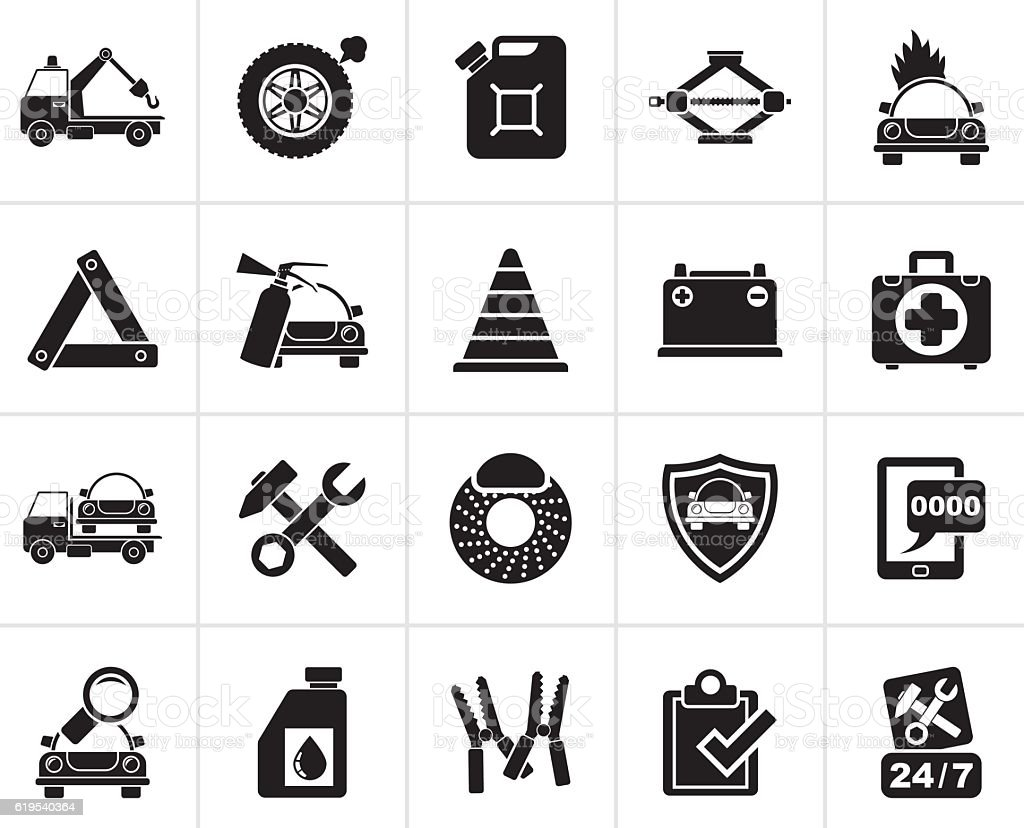 Black Roadside Assistance and tow  icons vector art illustration