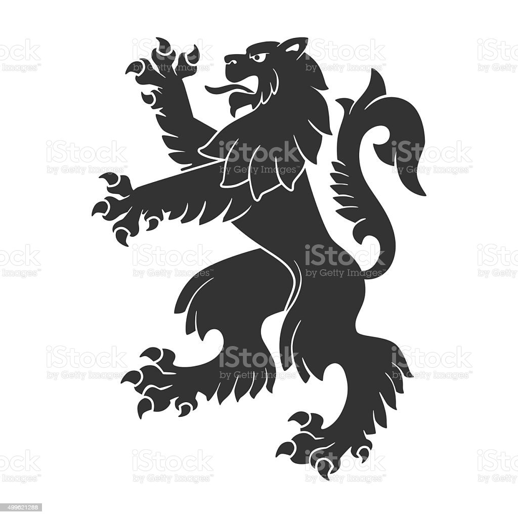 Black Roaring Lion vector art illustration