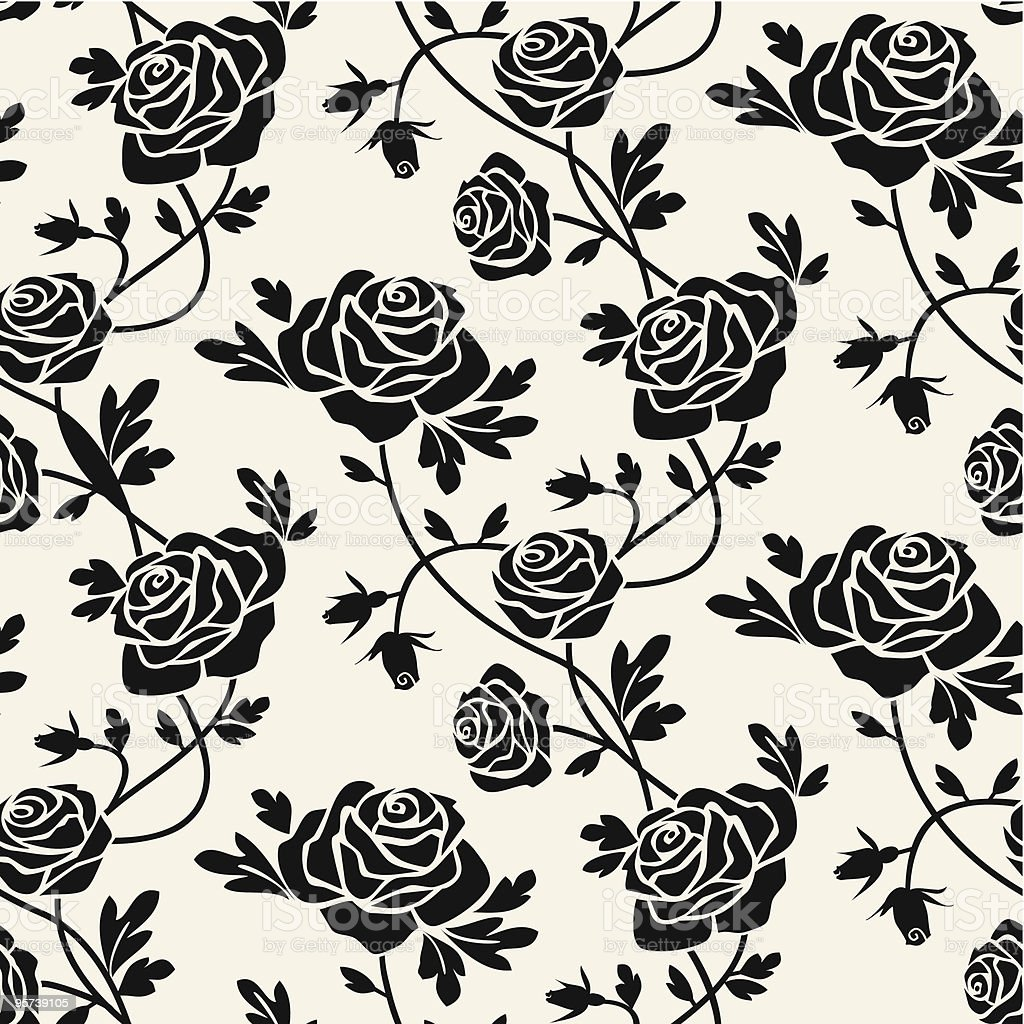 Black roses vector art illustration