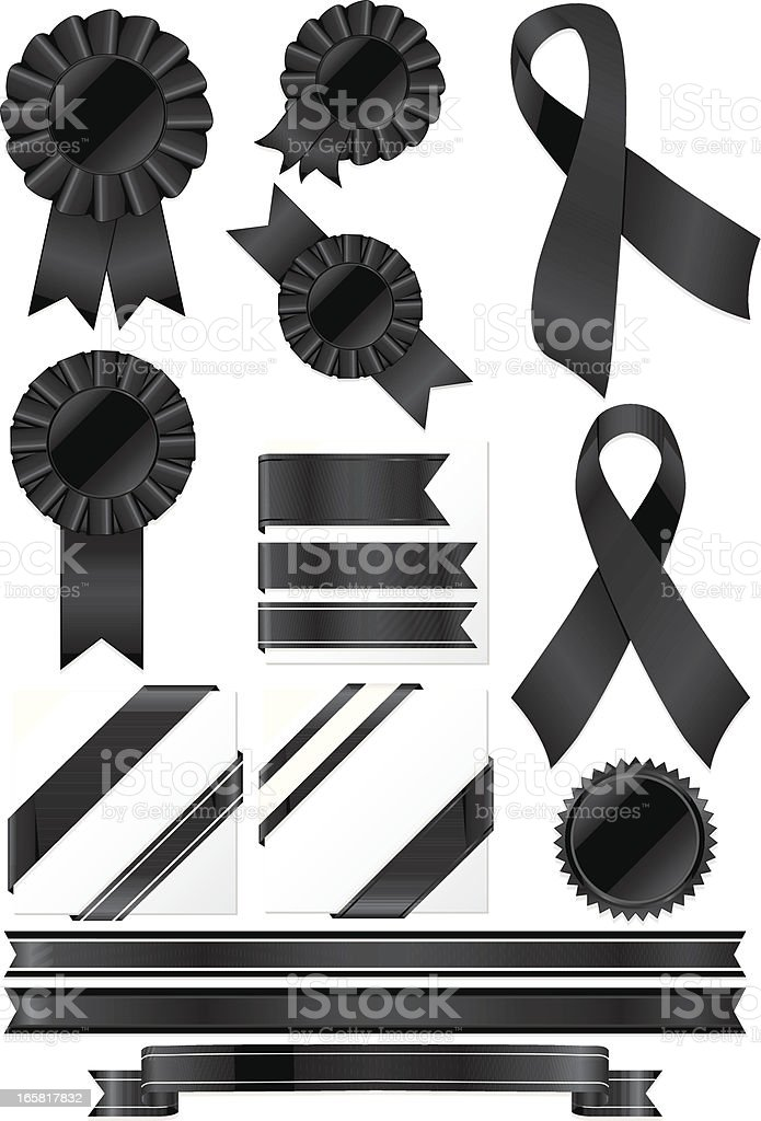 Black Rosettes, Ribbons and Stickers Set royalty-free stock vector art