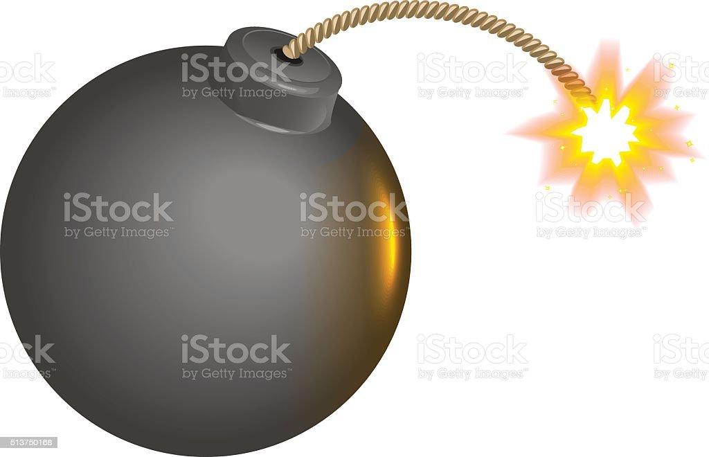 Black round bomb with burning wick vector art illustration