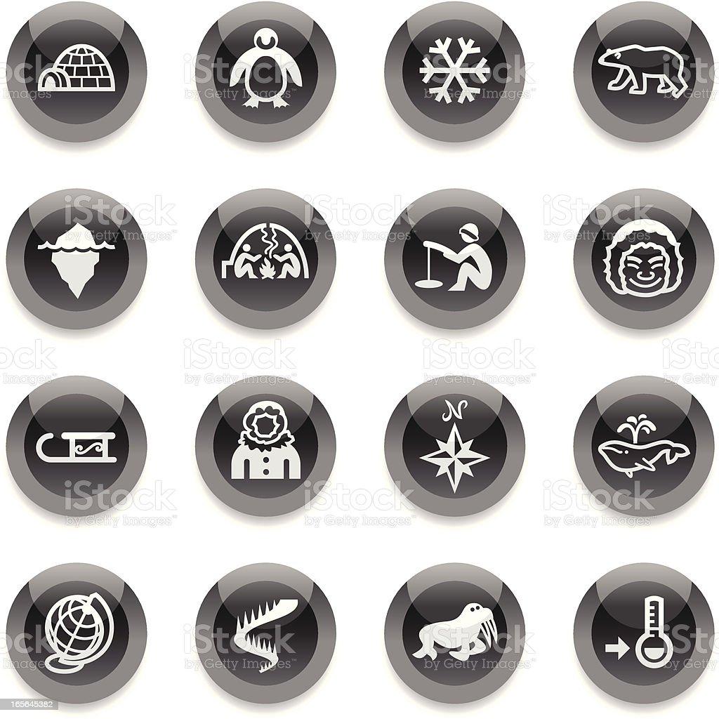 Black Round Icons - Arctic Polar royalty-free stock vector art