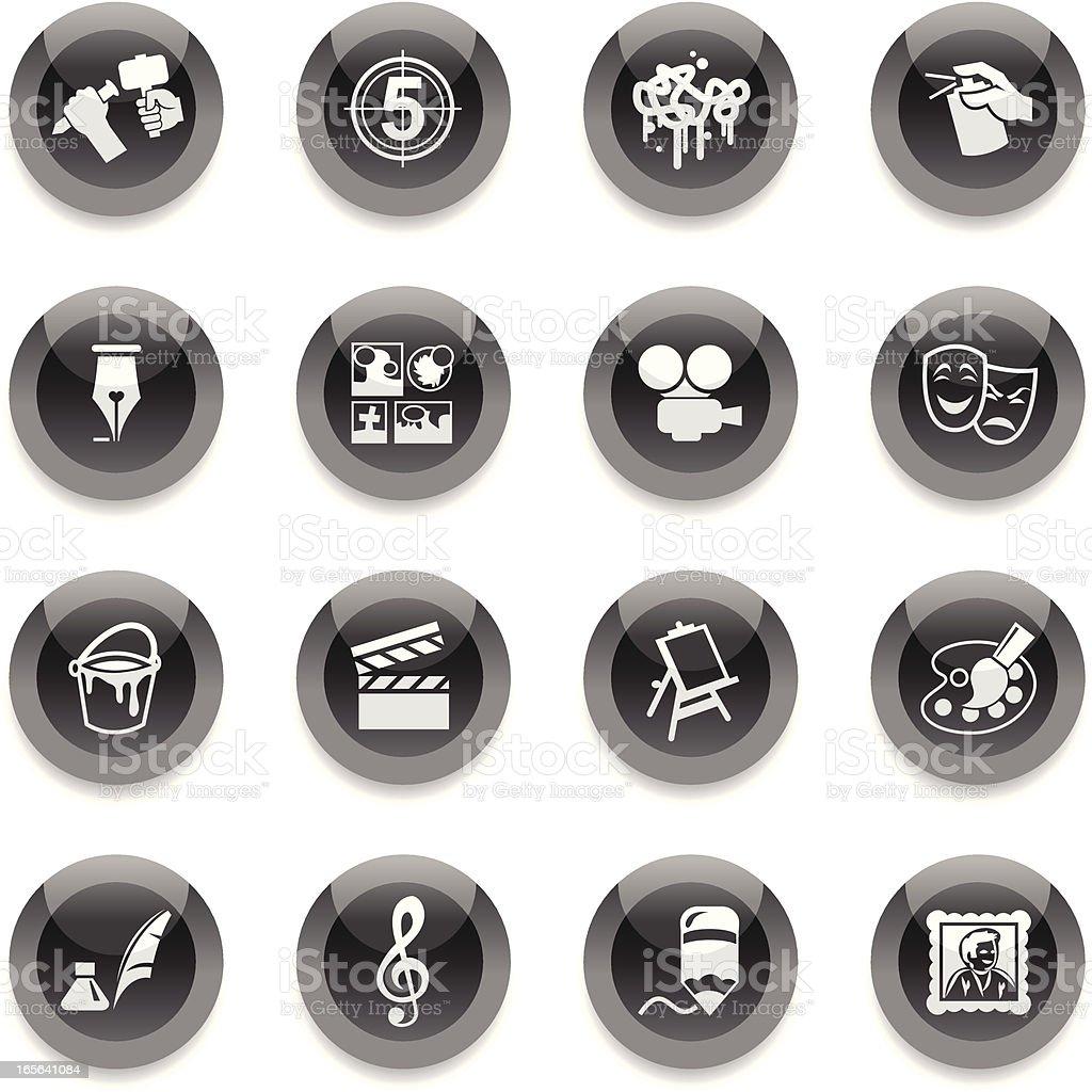 Black Round Icons - Arts royalty-free stock vector art