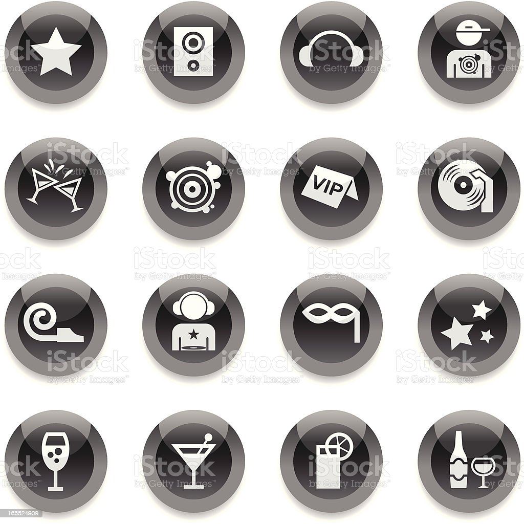 Black Round Icons - Club vector art illustration