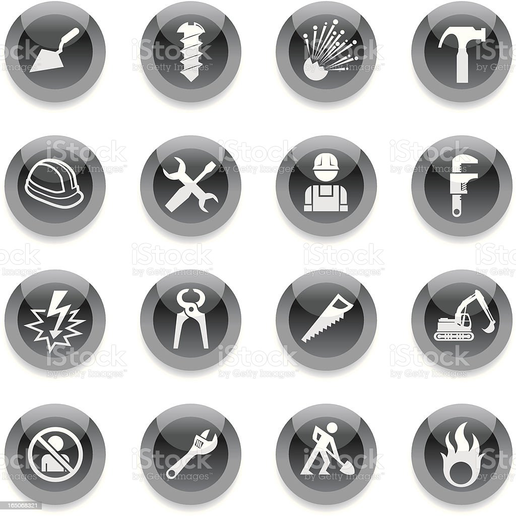 Black Round Icons - Construction royalty-free stock vector art