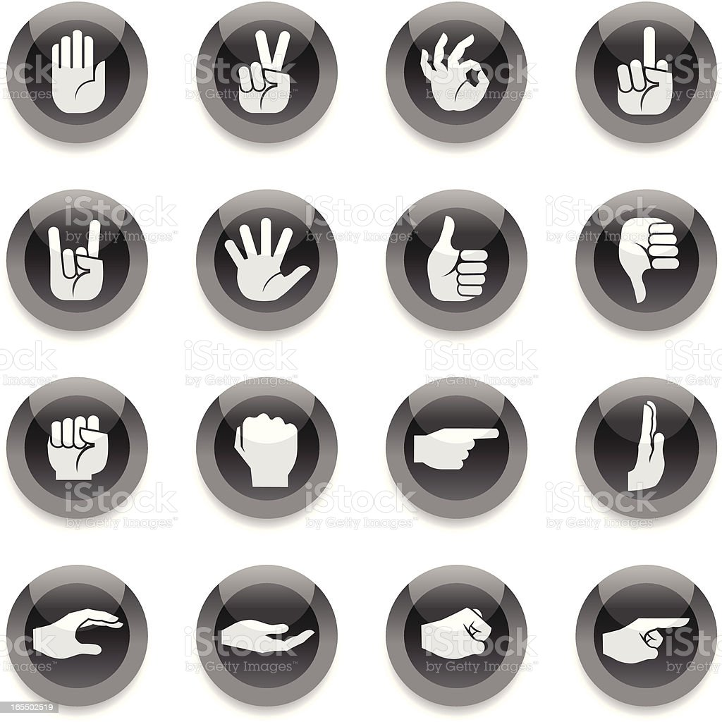 Black Round Icons - Hands royalty-free stock vector art