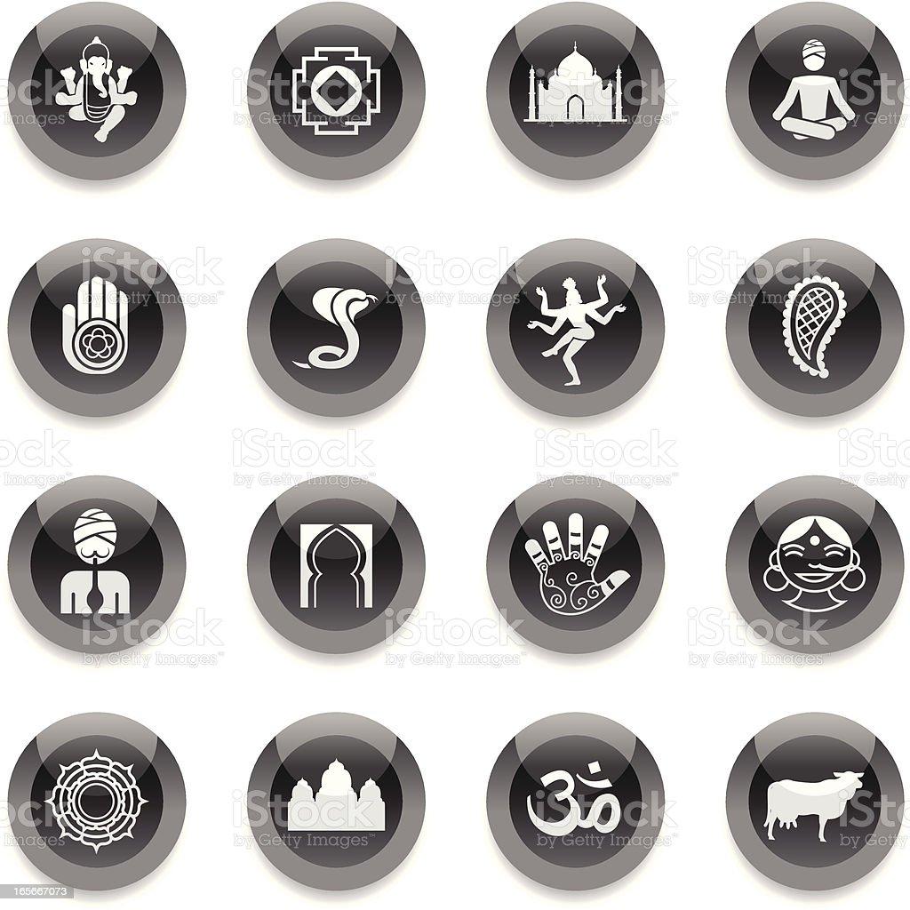 Black Round Icons - India royalty-free stock vector art