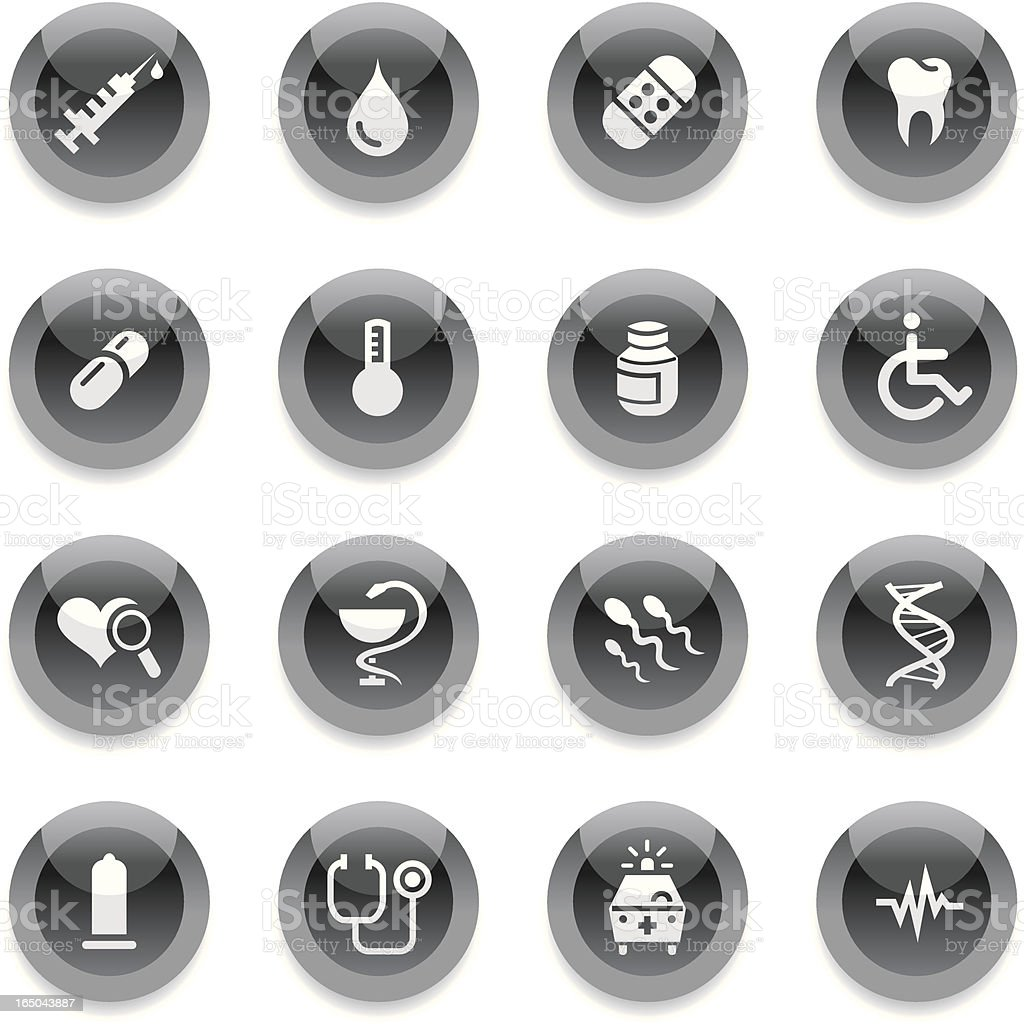 Black Round Icons - Medical royalty-free stock vector art